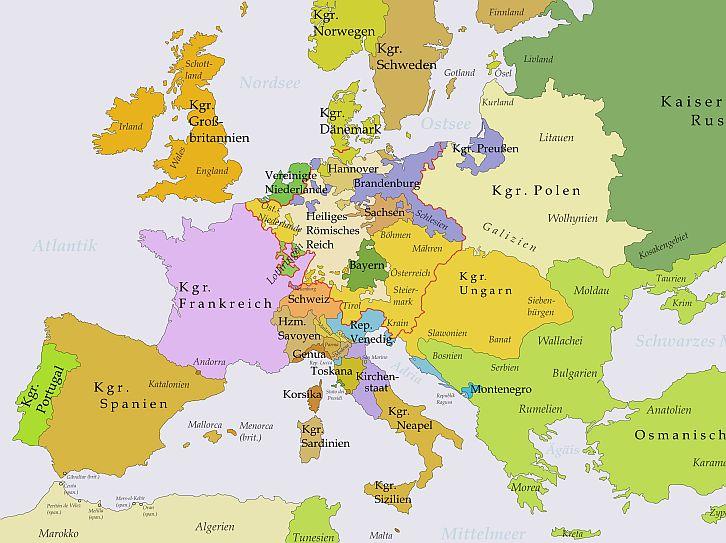 Landkarte Europas 1750 Geschichte Und Geschichten Aus Dem 18